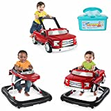 Bright Starts 3 Ways To Play 3-in-1 Activity Baby Walker Car for Boys, Ford F 150 in Red with Hypoallergenic Baby Wipes (Red)