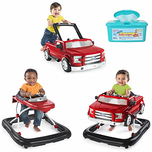 Bright Starts 3 Ways To Play 3-in-1 Activity Baby Walker Car for Boys, Ford F 150 in Red with Hypoallergenic Baby