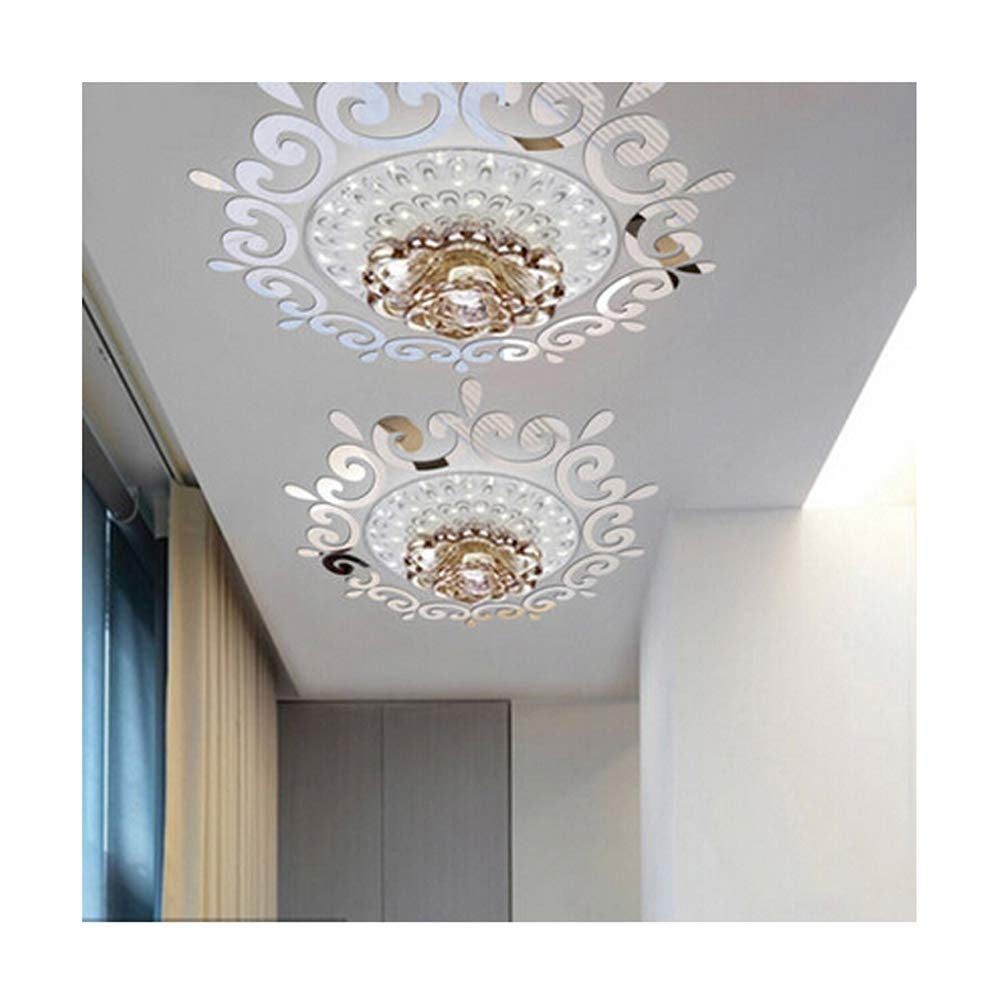 Alrens(TM)Luxury Multiparts= 1 Flower Wreath Acrylic Mirror 3D Wall Stickers Lighting Surrounding Decor Living Room Dining Room Ceiling Decor Home Decoration Removable