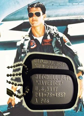 Top Gun MAVERICK Military Authentic Replica Stainless Steel Dog Tag Set Prop Halloween Costume]()