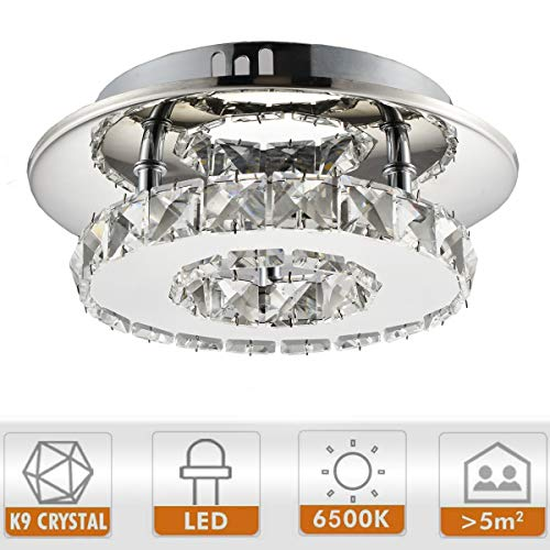 Ganeed 7.9Inch Modern Crystal Chandeliers,LED Ceiling Light, Stainless Steel Crystal Mini Round Flush Mount Ceiling Lamp for Dining Room Living Room Bedroom Hallway (12W / 6500K / Cool White) - Mini Ceiling Lamp