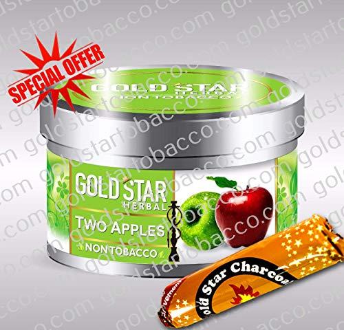 (GOLDSTAR Herbal Non Tobacco Smoke Two Apple Flavor Premium Hookah Shisha Nargila 200 gm + 1 Roll Goldstar Charcoal for Free)