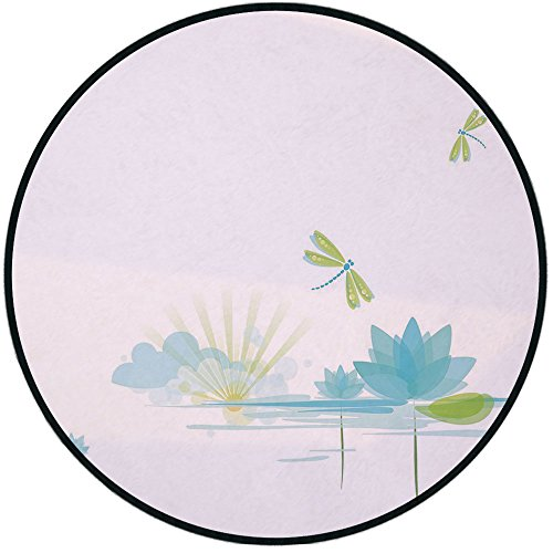 Printing Round Rug,Dragonfly,Waterlily and Dragonfly Nature Background Clouds Lake Sun Design Mat Non-Slip Soft Entrance Mat Door Floor Rug Area Rug For Chair Living Room,Apple Green Light Blue