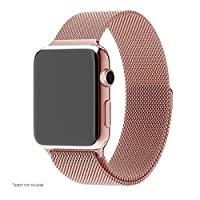 Pandawell Apple Watch Band, Stainless Steel Replacement Watchband Strap Wrist Band with Adapter for Apple Watch & Sport & Edition - 38mm - Rose Gold