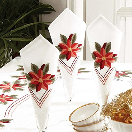 Napkins Stamped Embroidery - Herrschners® Poinsettia Napkins Stamped Embroidery
