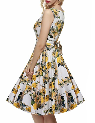 Yellow Light Party Spring Women's Garden ACEVOG Floral Picnic 1950's Dress Vintage Sleeveless FxAwP