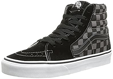 Vans Men's Sk8-Hi Skate Shoe (35 M EU / 5.5 B(M) US Women / 4 D(M) US Men, Black/Pewter Checkerboard Canvas)