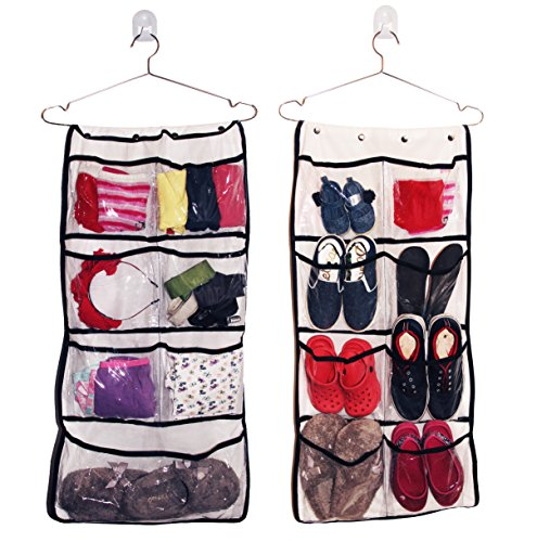 hanging organizer 8 pocket double sided drawer closet organizer holds jewelery accesories. Black Bedroom Furniture Sets. Home Design Ideas
