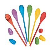 Egg Relay Game Set - Includes 6 Wooden Spoons 12'', And 6 Wooden Eggs 2.5'' – Assorted Colors – For Kids Fun, Game, Easter Party, Outdoor Party, Birthday, Carnival - By Kidsco