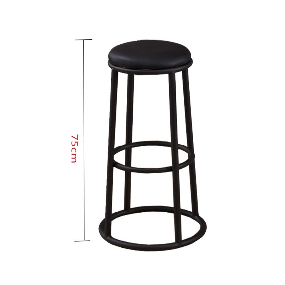 Sand black 75cm A WEIYV-Barstools,bar Chair Solid Wood bar Stool Modern Minimalist Wrought Iron bar Stool Round bar American bar Stool high Stool Personality Family seat American bar Stool