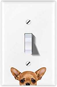 WIRESTER Single Gang Toggle Light Switch Plate/Wall Plate Cover - Fawn Apple Head Chihuahua Dog