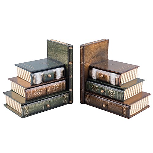 Fasmov Books Wood Bookends with Organizer Drawer Units, Set of 2 Deal (Large Image)