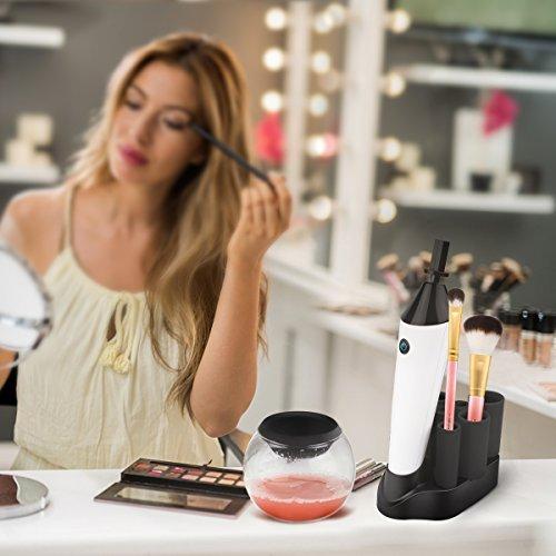 Nettoyant Pinceaux Maquillage, Morpilot Nettoyeur Brosse Maquillage RECHARGEABLE et Portable - nettoyer ou sécher des pinceaux cosmétique en second