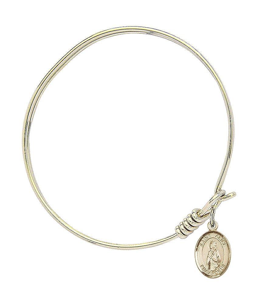 St Alice Charm On A 6 1//4 Inch Round Eye Hook Bangle Bracelet