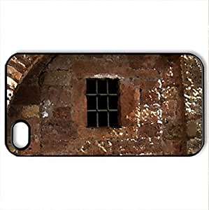 ancient wall with window - Case Cover for iPhone 4 and 4s (Ancient Series, Watercolor style, Black)