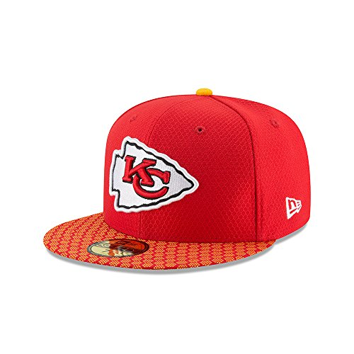 New Era Kansas City Chiefs 59Fifty Fitted Hat NFL Football Straight Brim Baseball Caps 5950 (8, Red 2017 SL of)