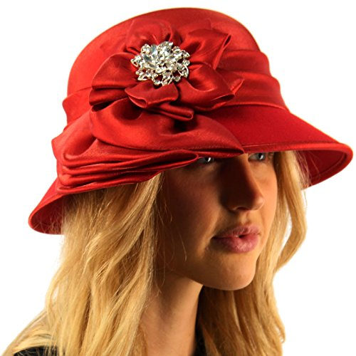 Flapper Hat In Red (Fancy Jeweled Luxurious Satin Derby Cloche Shape Bucket Dressy Party Hat Red)