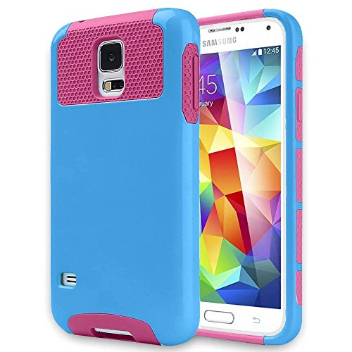 Galaxy S5 Case,Lantier TUFF Cute Armor 2 in 1 Dual Layer Hybrid Hard Shockproof Protect Cover for Samsung Galaxy S5 i9600 Sky-Blue + Hot Pink (S5 Hello Kitty Bling Case)