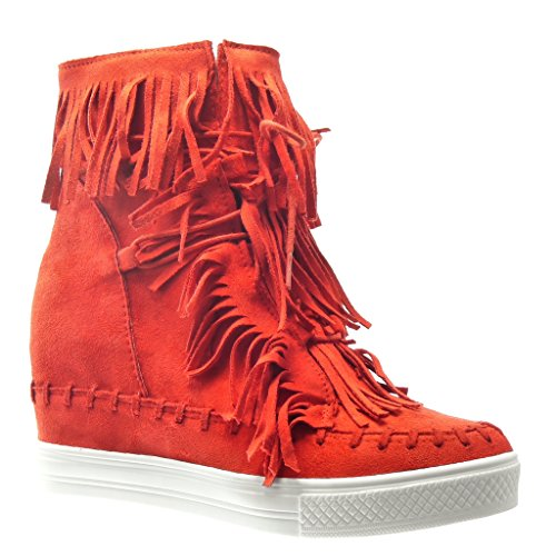 Angkorly - Zapatillas de Moda Deportivos Plataforma mujer fleco pompom Talón Plataforma 8 CM - Rojo