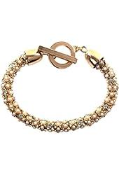 Anne Klein Gold-Tone Crystal Bead Tubular Toggle Bracelet