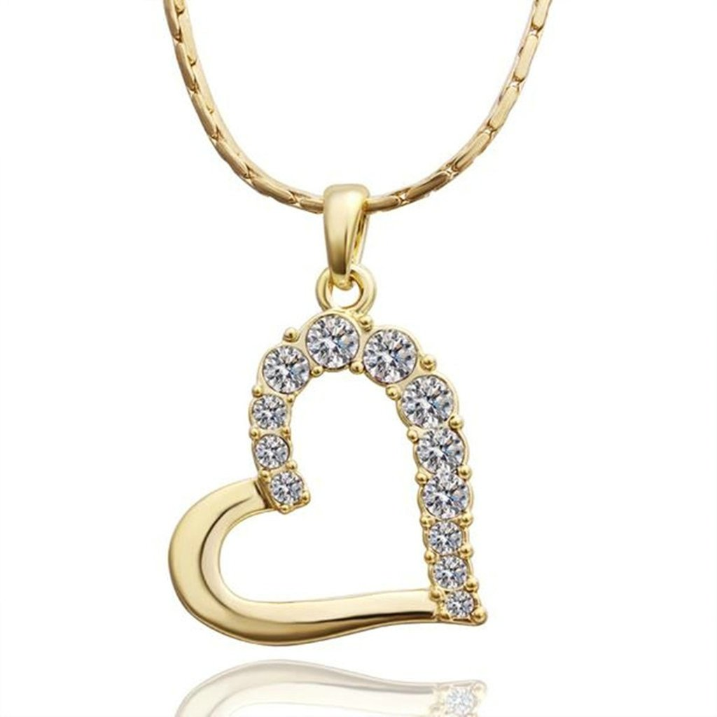 AmDxD Jewelry Gold Plated Womens Necklace White AAA Elements Crystal Heart Hollow Design Pendant