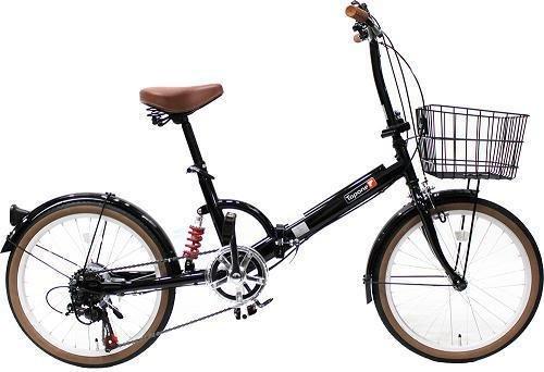 トップワン(TOP ONE) 20インチ折畳み自転車 シマノ外装6段ギア リアサスペンション カゴカギライト付 ブラック FS206LL-37-BK ブラックモカオリーブパールホワイトレッドターコイズブルー B00F2ECET4