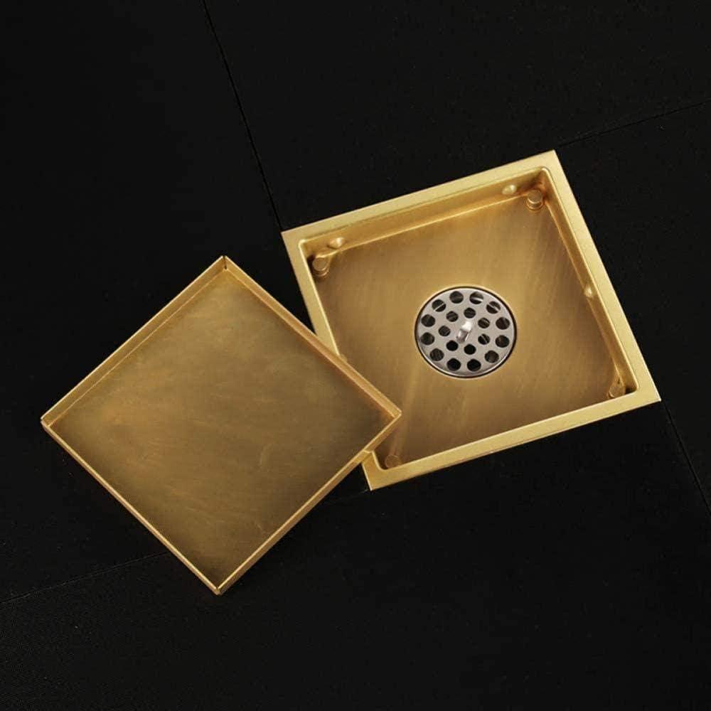 304er Gold Siphon 150x150mm Massiv Edelstahl Quadratisch Geruchshemmend Bodenablauf Bad Unsichtbar Dusche Gold