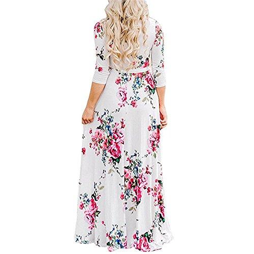 Pleated Washed Silk Dress - AMOFINY Sexy Boho Women Floral Print Long Sleeve Long Dresses V-Neck Mini Dress