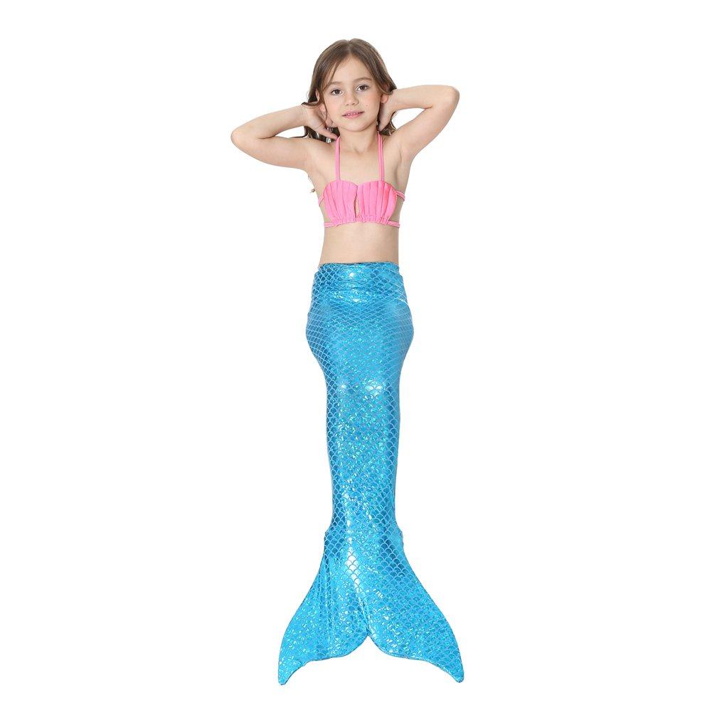 Le SSara Ragazze Mare-Domestica Swimwear Mermaid Shell Costume da Bagno 3pcs Insiemi del Bikini