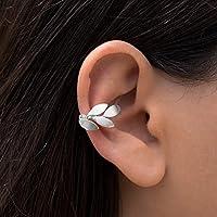 Elfo oreja brazalete, arete de hoja de oreja pendiente, plata pendiente puño, rosa de oro oreja puño no piercing aretes…
