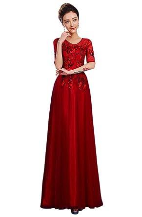 Drasawee Juniors 3/4 Sleeves Long Slim-Cut Evening Dresses Homecoming Gowns BurgundyUS0