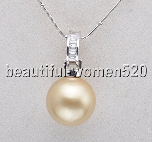 (X0111 16mm Round CHAMPAGNE SOUTH SEA SHELL PEARL Inlay Crystal PENDANT)