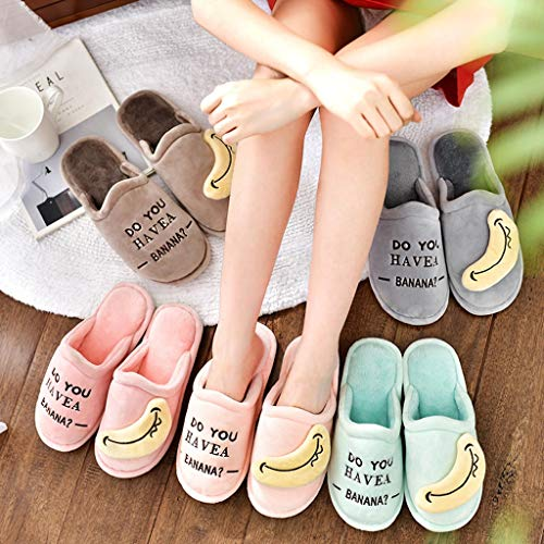 Slippers AMINSHAP Baumwolle Male Brown Gray Cute größe Mopp Dick Winter 40 41EU Winter Cartoon Paar Cotton Soled Hause Indoor Farbe 4rrn7qx5E