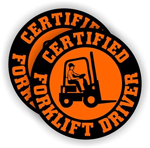 Certified Forklift Driver Hard Hat Sticker / Decal Helmet Label Tow Motor Operator Pallet Jack