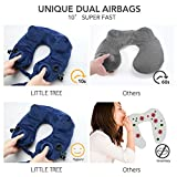 Travel Pillow Inflatable Set Fastest (10 sec) Dual Push-Button Inflatable Neck Pillow, 1Easylife - Little Tree Self Inflating Portable Neck Pillow with Ear Plugs, Eye Mask and Drawstring Bag, Blue