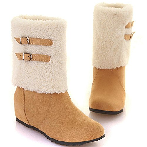 RAZAMAZA Women Boots Pull On Warm Lined Beige xcmHF
