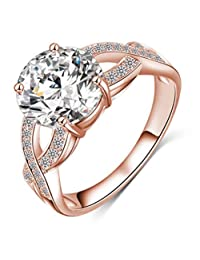 Designer Rings for Women - 14k Rose Gold Criss Cross Twist Infinity Ring with Clear CZ,Size 5-9