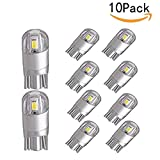 CTKcom 10-Pack T10 LED bulbs 2.5W Super Bright T10 Wedge 3030 2SMD LED Light Car,Interior Bulbs 12V-24V 6000K For auto car rv Motorcycle light Car Interior Lamp,Pack of 10(White)