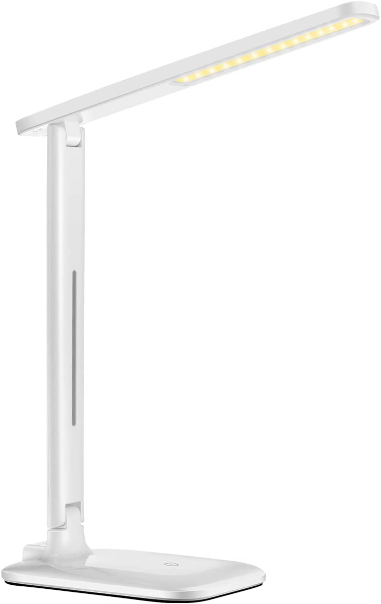 LITOM 42LED Desk Lamp, Eye-Caring Reading Table Lamp with 3 Lighting Modes 3 Brightness Warm White Cool White , Sensitive Touch Control Reading Lamp Compact for Office, Home, Reading, Study White