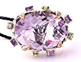 LeVian Pink Amethyst, Peridot, Amethyst and Diamond 10.80 cttw Cocktail Ring in 925 Sterling Silver and 18K Rose Gold size 7