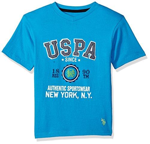 (U.S. Polo Assn. Boys' Big Short Sleeve Fancy V-Neck T-Shirt, Authentic Sportswear New York flip Flop Blue, 18)