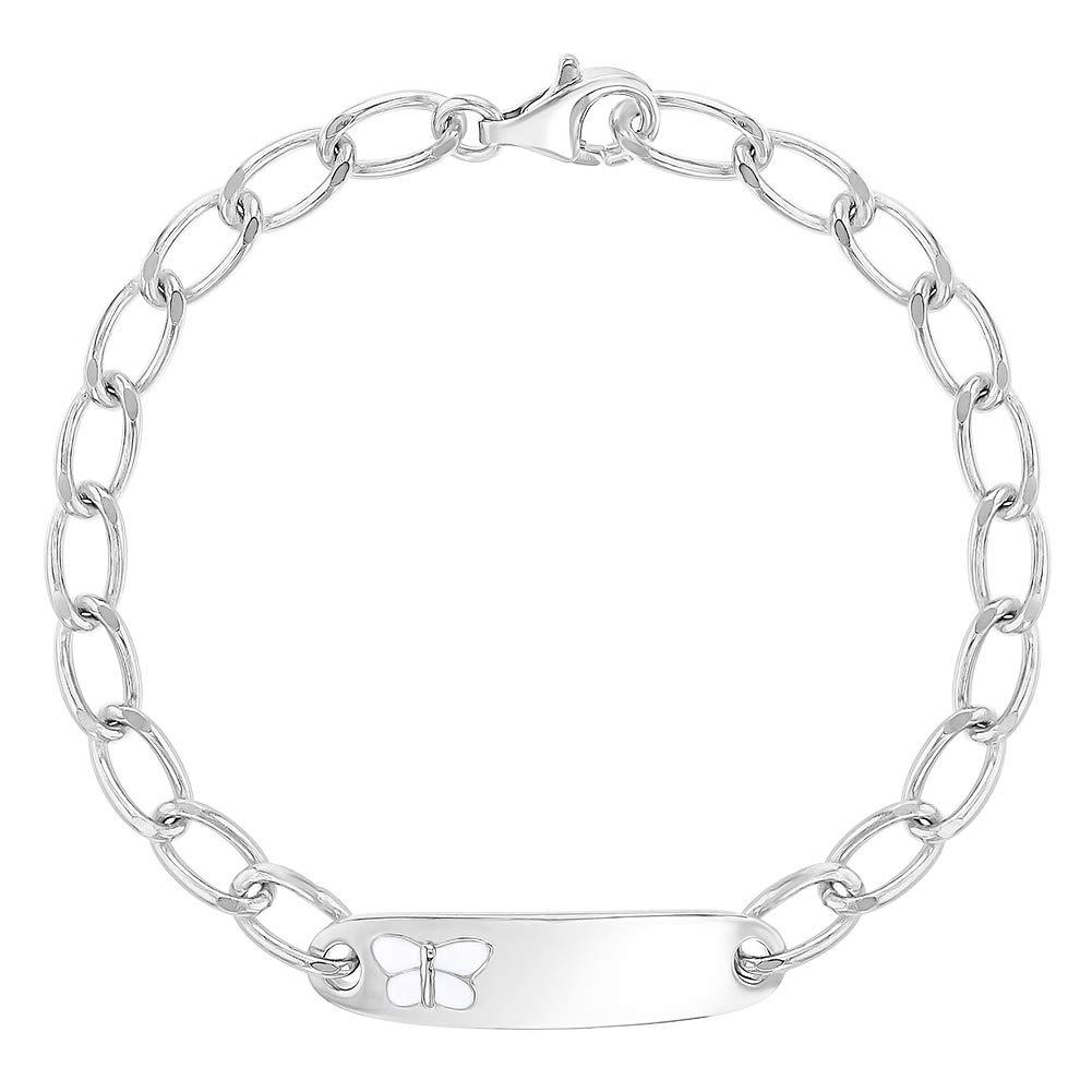 925 Sterling Silver Identification Butterfly Bracelet for Little Girls 5.5 In Season Jewelry SS-02-00066