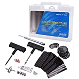 Hromee Tubeless Tire Repair Kit, 47 Pieces T-Handle Tire Repair Plugs Kit with Tire Gauge, Plug Strips and Patches, Motorcycle Tire Repair Tools Kit