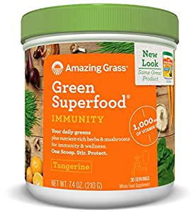 Amazing Grass Green Superfood, Immunity, Tangerine, Powder, 30 Servings, 7.4oz, Vitamin C, Vitamin D3, Vitamin K, Wheat Grass, Spirulina, Alfalfa, Probiotic, Antioxidant, Green Tea Extract, Acai