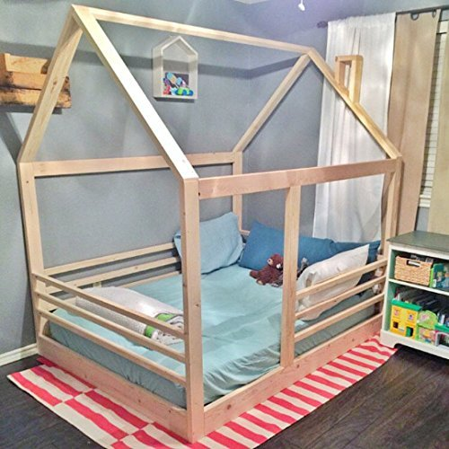 House Bed Frame Twin Size + Railings (Rails Slats)
