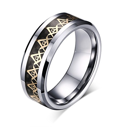 MG 8mm Tungsten Carbide Black Carbon Fiber & Gold Masonic Symbol Inlay Wedding Bands for Men Freemason,size 13