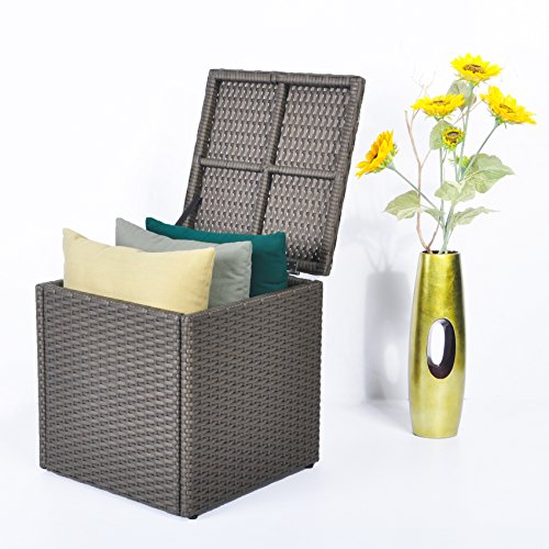 Outdoor Patio Resin Wicker Deck Box Storage Container Bench Seat, 21 Gallon, Anti Rust, Waterproof, All Weather Resistant, Brown