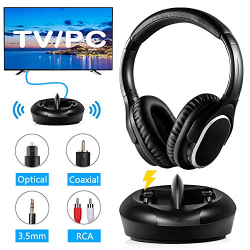 (TV Headphones Wireless RF Headphones with Charging Dock HiFi Transmitter 328 Feet Wireless Range Clear Stereo Sound Support Optical Coaxial AUX RCA for Smart TV PC Phone)