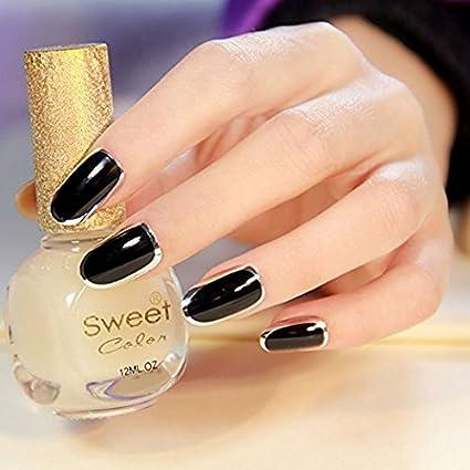 Yunai falsas uñas – 24pcs Negro falsas uñas con metálico espejo uñas postizas de acrílico francés
