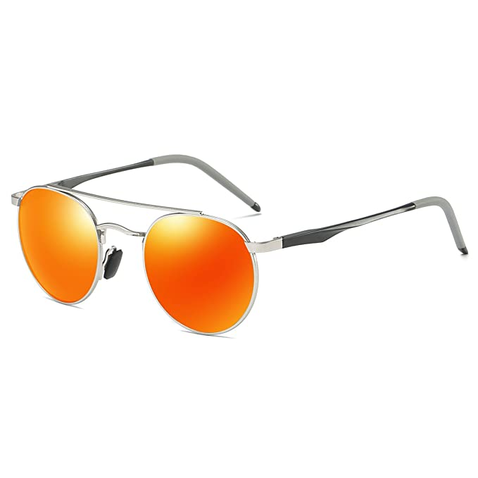 aea08ad9e9d Round Sunglasses Double Bridge Polarized Lens Spring Hinged Al-Mg Temple  Lightweight (Silver